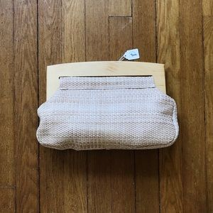 Vintage straw & wood clutch